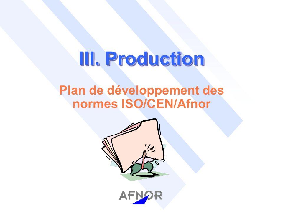 III. Production Plan de développement des normes ISO/CEN/Afnor