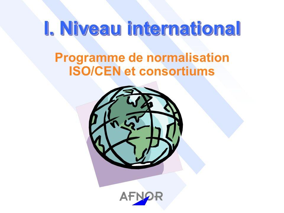 I. Niveau international Programme de normalisation ISO/CEN et consortiums