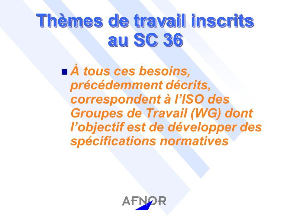 Thèmes de travail inscrits au SC 36 n À tous ces besoins, précédemment décrits, correspondent à lISO des Groupes de Travail (WG) dont lobjectif est de développer des spécifications normatives