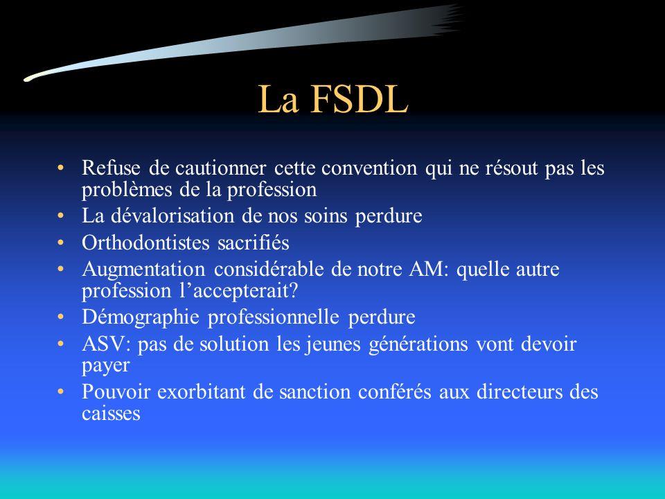 La FSDL Refuse de cautionner cette convention qui ne résout pas les problèmes de la profession La dévalorisation de nos soins perdure Orthodontistes sacrifiés Augmentation considérable de notre AM: quelle autre profession laccepterait.