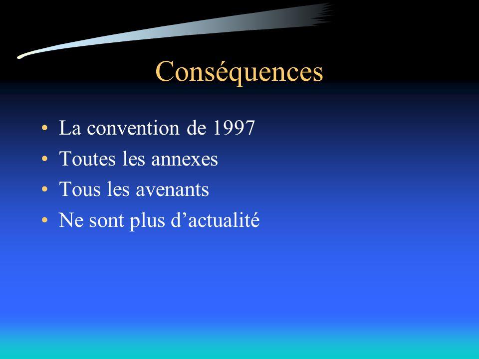 Conséquences La convention de 1997 Toutes les annexes Tous les avenants Ne sont plus dactualité