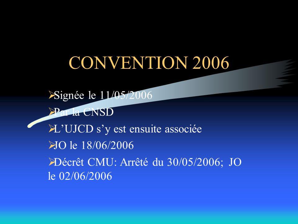 CONVENTION 2006 Signée le 11/05/2006 Par la CNSD LUJCD sy est ensuite associée JO le 18/06/2006 Décrêt CMU: Arrêté du 30/05/2006; JO le 02/06/2006