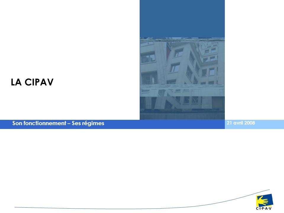 Son fonctionnement – Ses régimes 21 avril 2008 LA CIPAV