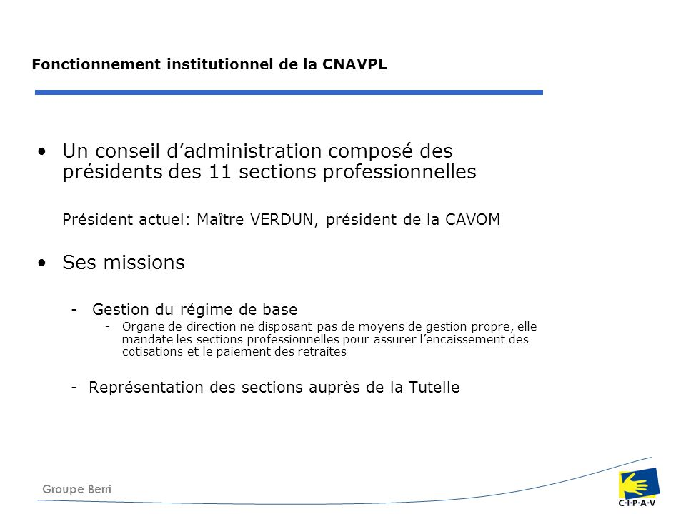 Groupe Berri Fonctionnement institutionnel de la CNAVPL Un conseil dadministration composé des présidents des 11 sections professionnelles Président a
