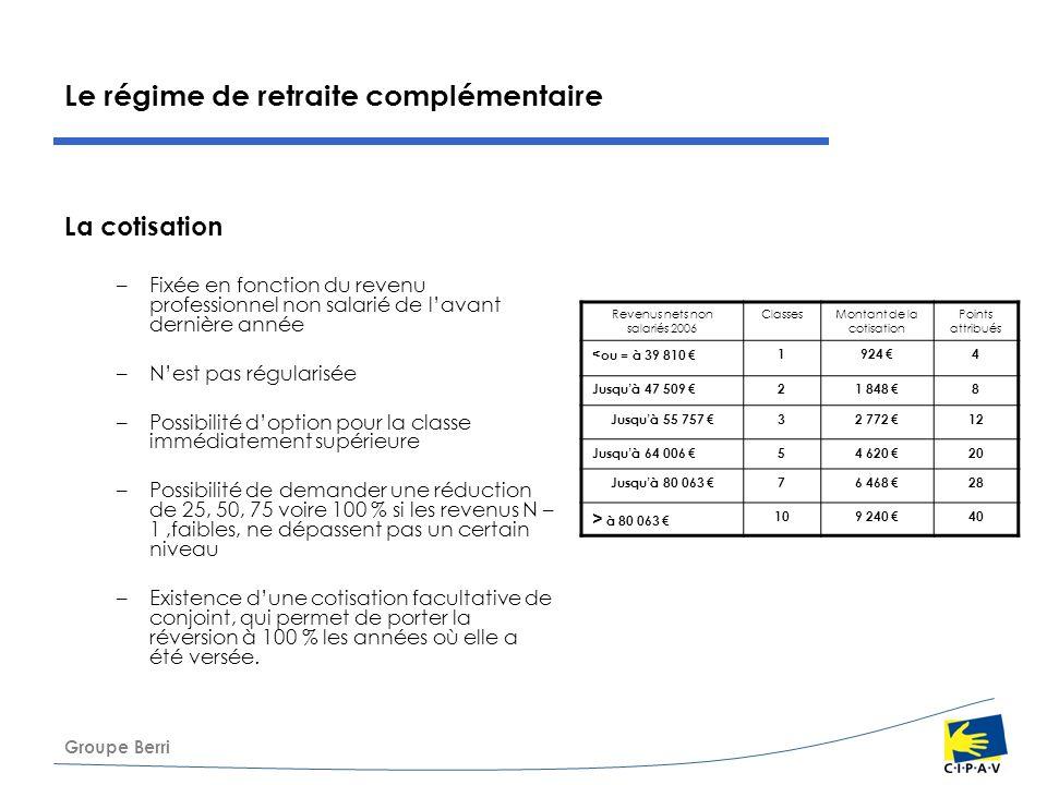 Groupe Berri Le régime de retraite complémentaire La cotisation –Fixée en fonction du revenu professionnel non salarié de lavant dernière année –Nest