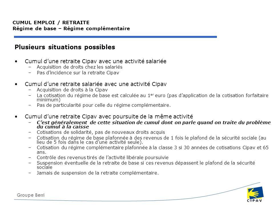 Groupe Berri CUMUL EMPLOI / RETRAITE Régime de base – Régime complémentaire Plusieurs situations possibles Cumul dune retraite Cipav avec une activité