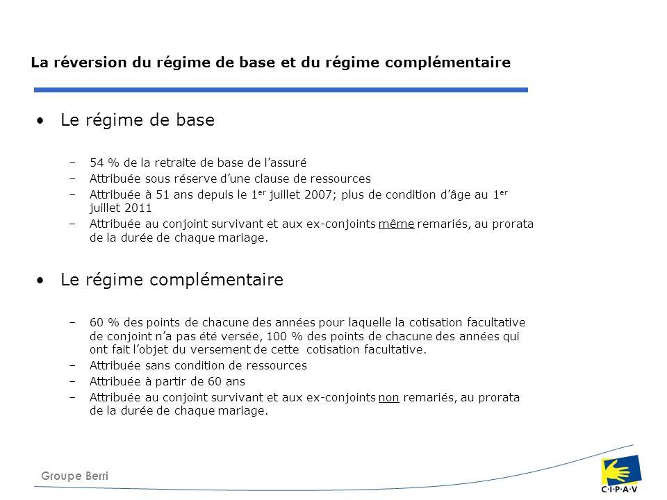 Groupe Berri La réversion du régime de base et du régime complémentaire Le régime de base –54 % de la retraite de base de lassuré –Attribuée sous rése