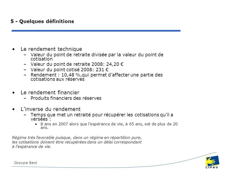 Groupe Berri 5 - Quelques définitions Le rendement technique –Valeur du point de retraite divisée par la valeur du point de cotisation –Valeur du poin