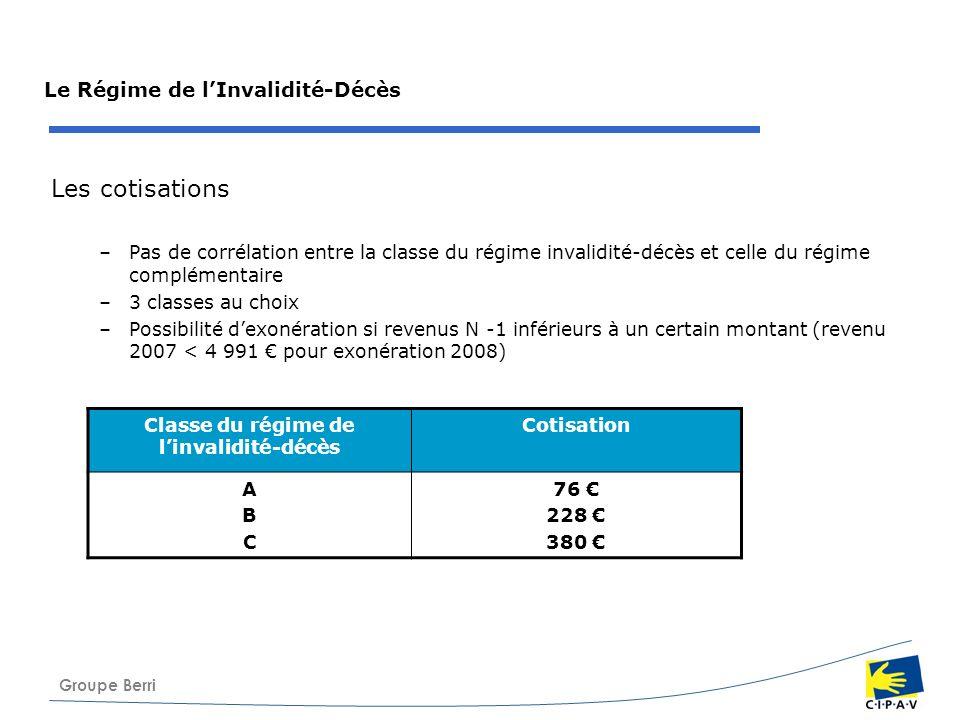Groupe Berri Le Régime de lInvalidité-Décès Les cotisations –Pas de corrélation entre la classe du régime invalidité-décès et celle du régime compléme