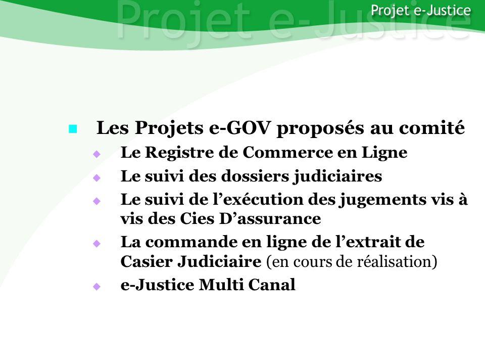 Projet e-JusticeYounès EL MECHRAFIPage n°11 Les Projets e-GOV proposés au comité Les Projets e-GOV proposés au comité Le Registre de Commerce en Ligne