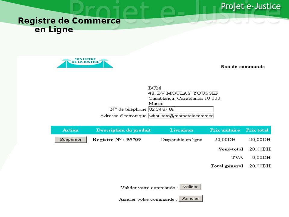 Projet e-JusticeYounès EL MECHRAFIPage n°18 Registre de Commerce en Ligne