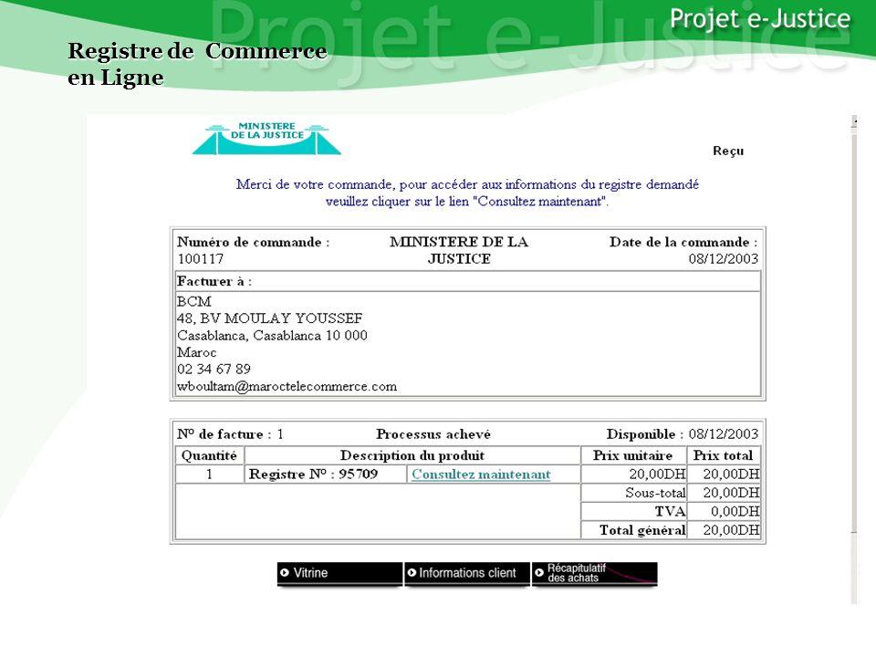 Projet e-JusticeYounès EL MECHRAFIPage n°19 Registre de Commerce en Ligne