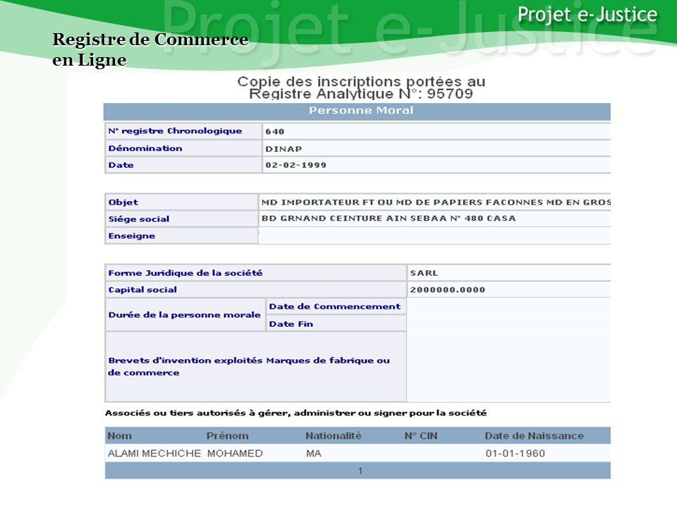 Projet e-JusticeYounès EL MECHRAFIPage n°20 Registre de Commerce en Ligne