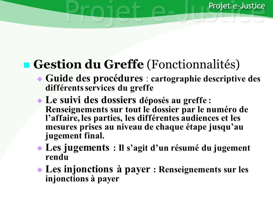 Projet e-JusticeYounès EL MECHRAFIPage n°22 Gestion du Greffe (Fonctionnalités) Gestion du Greffe (Fonctionnalités) Guide des procédures : cartographi