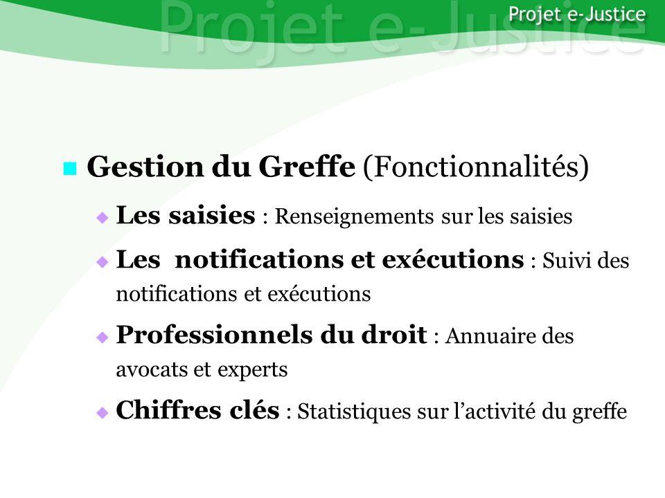Projet e-JusticeYounès EL MECHRAFIPage n°23 Gestion du Greffe (Fonctionnalités) Gestion du Greffe (Fonctionnalités) Les saisies : Renseignements sur l
