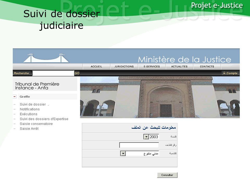 Projet e-JusticeYounès EL MECHRAFIPage n°25 Suivi de dossier judiciaire