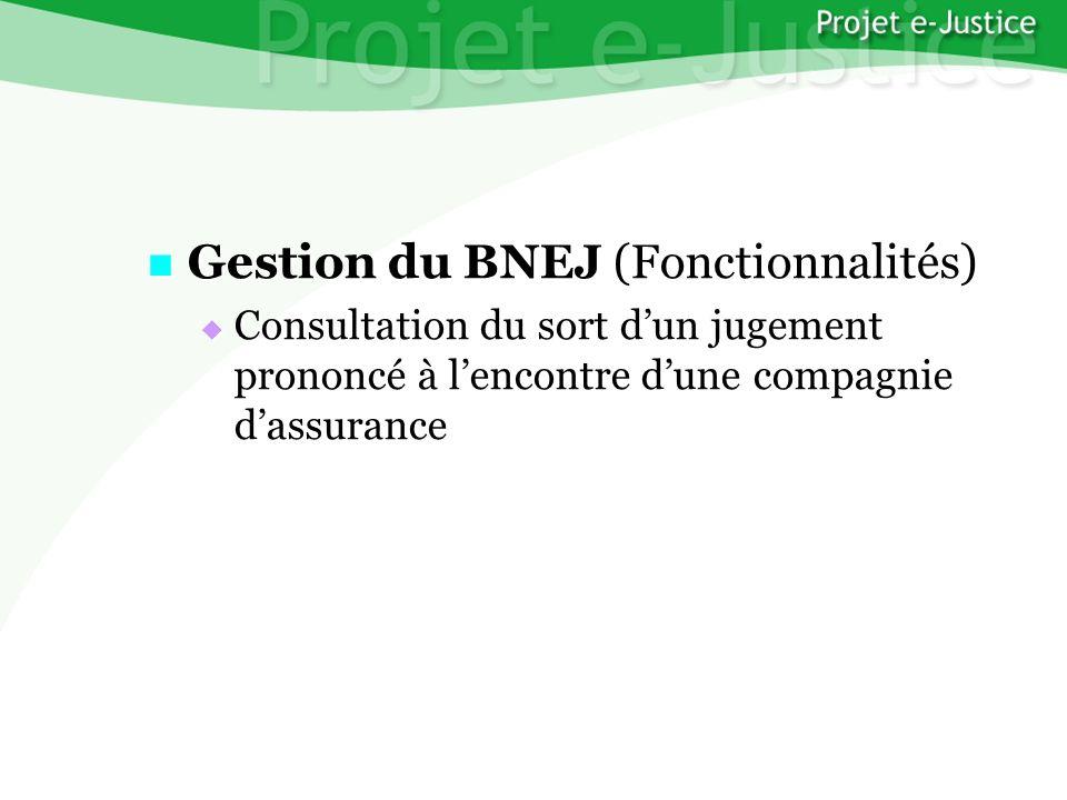 Projet e-JusticeYounès EL MECHRAFIPage n°27 Gestion du BNEJ (Fonctionnalités) Gestion du BNEJ (Fonctionnalités) Consultation du sort dun jugement pron