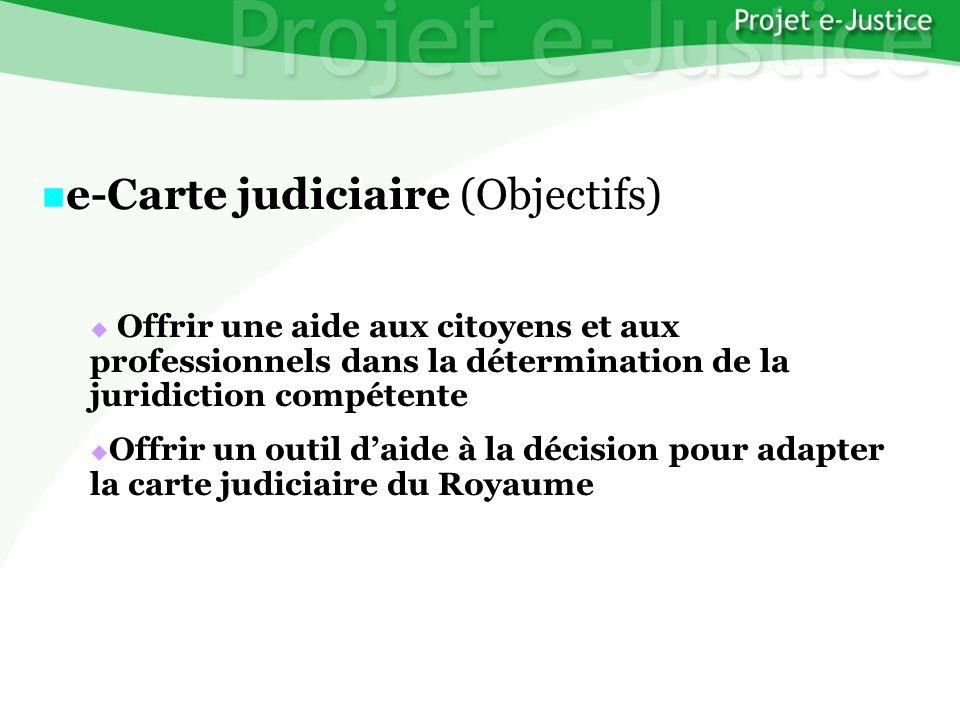Projet e-JusticeYounès EL MECHRAFIPage n°31 e-Carte judiciaire (Objectifs) e-Carte judiciaire (Objectifs) Offrir une aide aux citoyens et aux professi