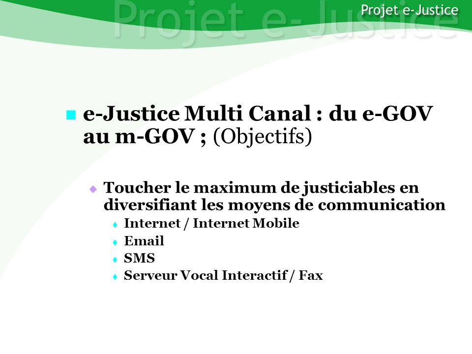 Projet e-JusticeYounès EL MECHRAFIPage n°33 e-Justice Multi Canal : du e-GOV au m-GOV ; (Objectifs) e-Justice Multi Canal : du e-GOV au m-GOV ; (Objec
