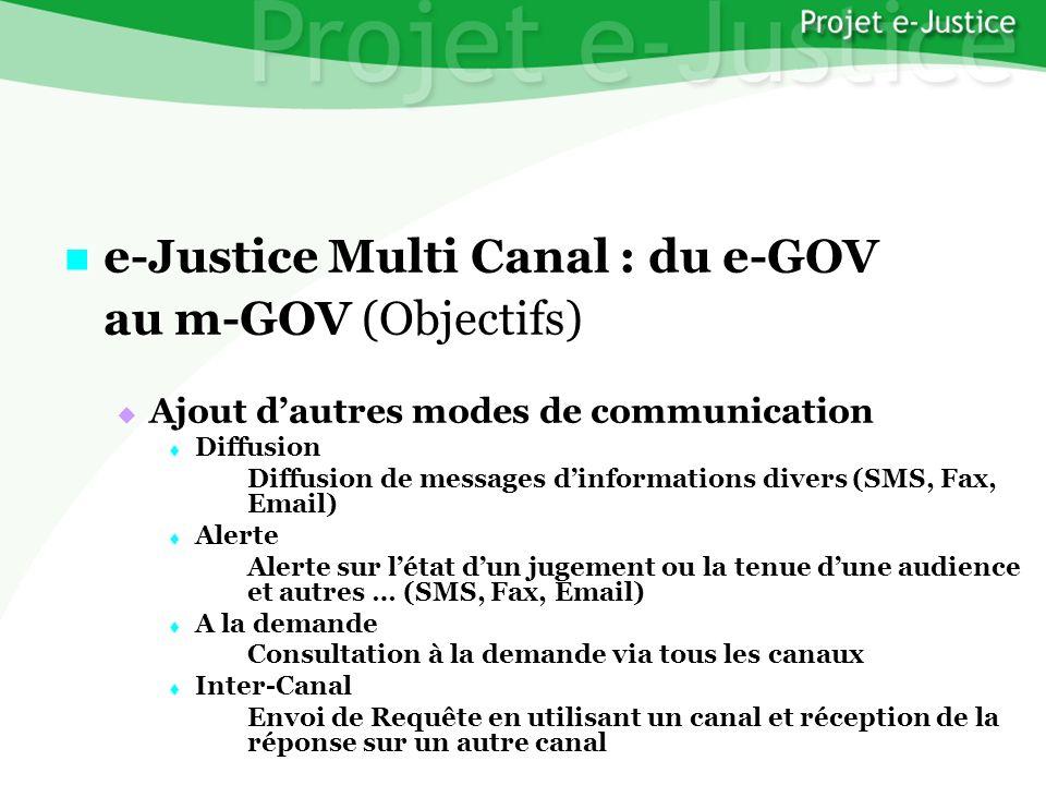 Projet e-JusticeYounès EL MECHRAFIPage n°34 e-Justice Multi Canal : du e-GOV e-Justice Multi Canal : du e-GOV au m-GOV (Objectifs) Ajout dautres modes