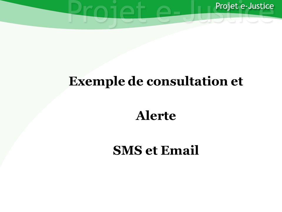 Projet e-JusticeYounès EL MECHRAFIPage n°35 Exemple de consultation et Alerte SMS et Email