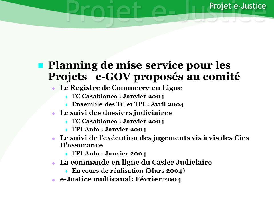 Projet e-JusticeYounès EL MECHRAFIPage n°40 Planning de mise service pour les Projets e-GOV proposés au comité Planning de mise service pour les Proje
