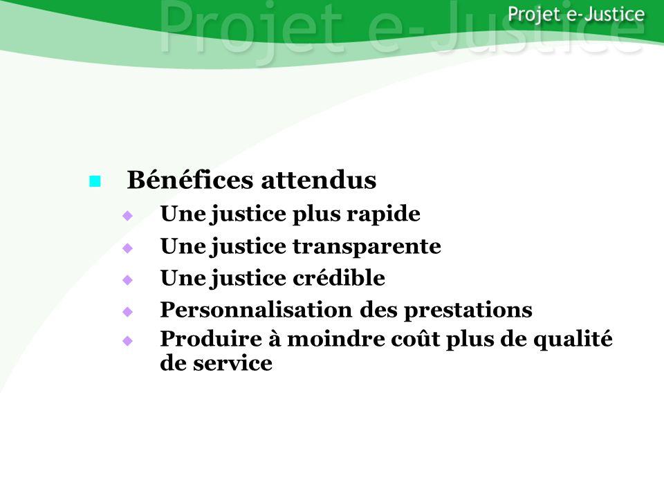 Projet e-JusticeYounès EL MECHRAFIPage n°43 Bénéfices attendus Bénéfices attendus Une justice plus rapide Une justice plus rapide Une justice transpar