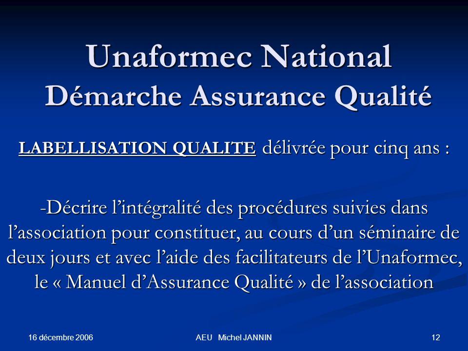 16 décembre 2006 12AEU Michel JANNIN Unaformec National Démarche Assurance Qualité LABELLISATION QUALITE délivrée pour cinq ans : -Décrire lintégralit