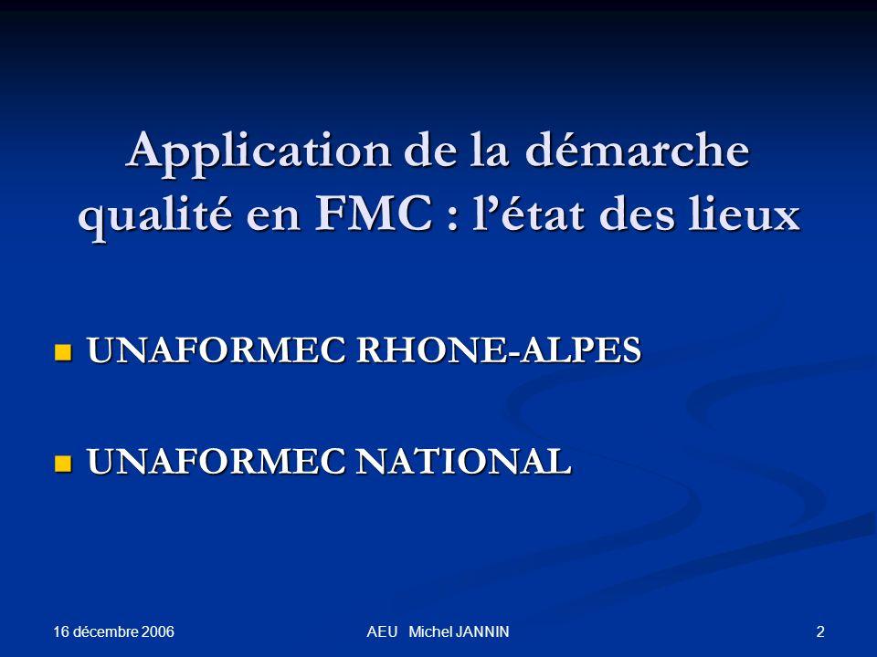 16 décembre 2006 2AEU Michel JANNIN Application de la démarche qualité en FMC : létat des lieux Application de la démarche qualité en FMC : létat des lieux UNAFORMEC RHONE-ALPES UNAFORMEC RHONE-ALPES UNAFORMEC NATIONAL UNAFORMEC NATIONAL