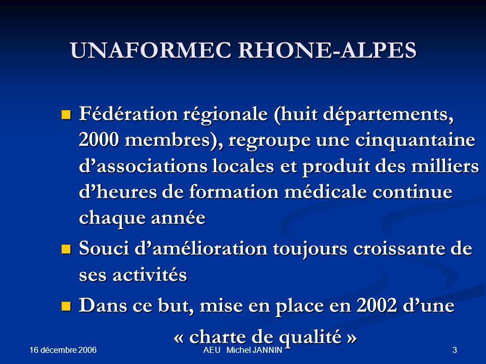 16 décembre 2006 3AEU Michel JANNIN UNAFORMEC RHONE-ALPES Fédération régionale (huit départements, 2000 membres), regroupe une cinquantaine dassociati