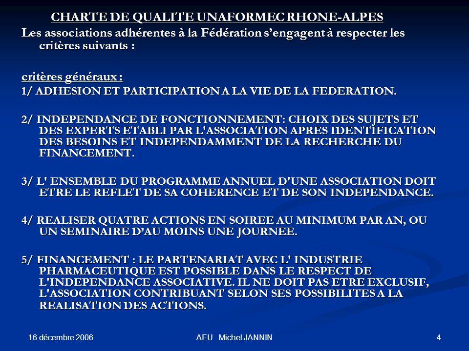 16 décembre 2006 4AEU Michel JANNIN CHARTE DE QUALITE UNAFORMEC RHONE-ALPES CHARTE DE QUALITE UNAFORMEC RHONE-ALPES Les associations adhérentes à la Fédération sengagent à respecter les critères suivants : critères généraux : 1/ ADHESION ET PARTICIPATION A LA VIE DE LA FEDERATION.