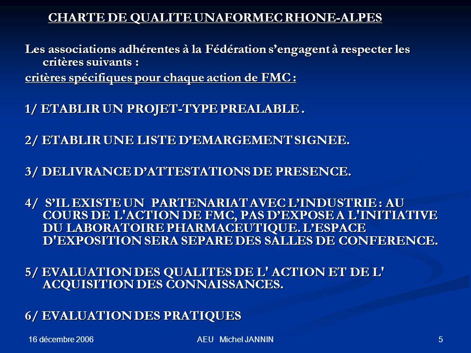 16 décembre 2006 5AEU Michel JANNIN CHARTE DE QUALITE UNAFORMEC RHONE-ALPES CHARTE DE QUALITE UNAFORMEC RHONE-ALPES Les associations adhérentes à la Fédération sengagent à respecter les critères suivants : critères spécifiques pour chaque action de FMC : 1/ ETABLIR UN PROJET-TYPE PREALABLE.
