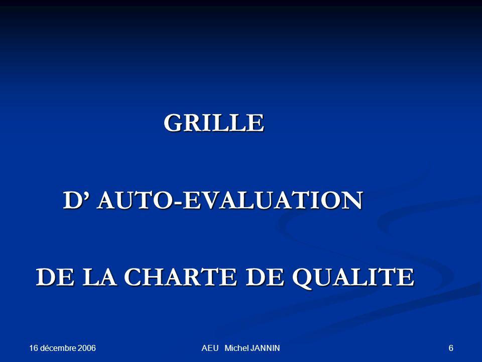 16 décembre 2006 6AEU Michel JANNIN GRILLE GRILLE D AUTO-EVALUATION D AUTO-EVALUATION DE LA CHARTE DE QUALITE DE LA CHARTE DE QUALITE
