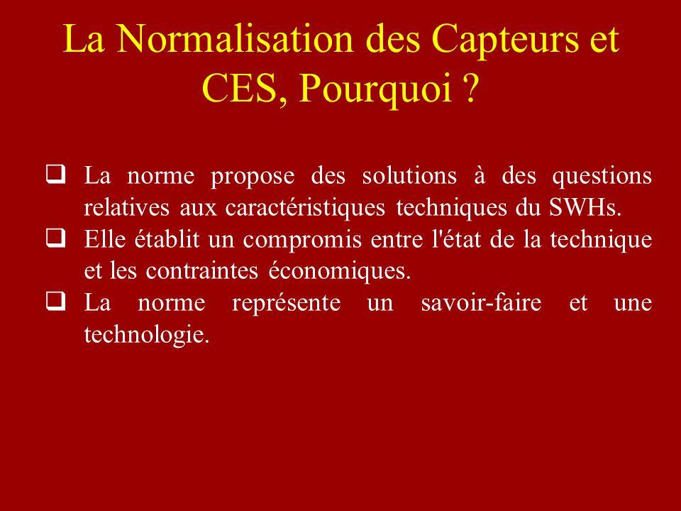 La Normalisation des Capteurs et CES, Pourquoi ? La norme propose des solutions à des questions relatives aux caractéristiques techniques du SWHs. Ell