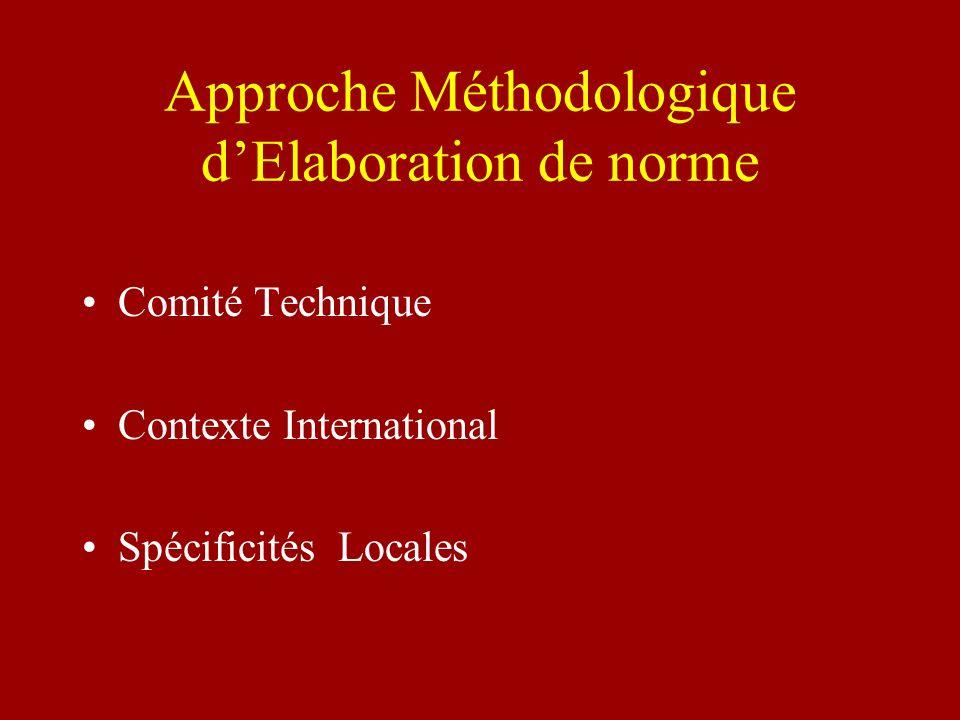 Approche Méthodologique dElaboration de norme Comité Technique Contexte International Spécificités Locales