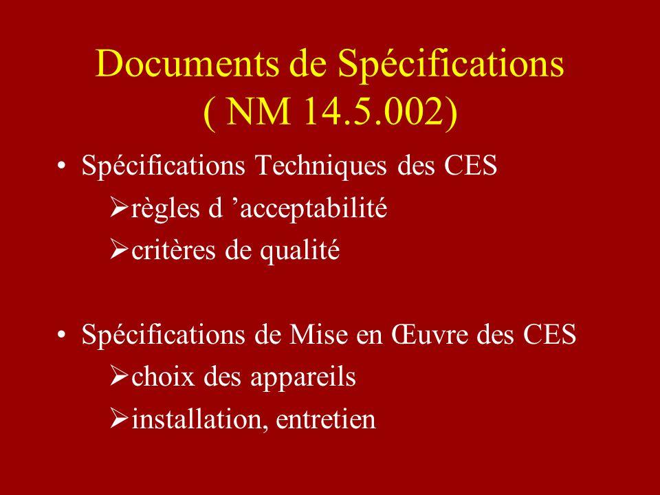 Documents de Spécifications ( NM 14.5.002) Spécifications Techniques des CES règles d acceptabilité critères de qualité Spécifications de Mise en Œuvr