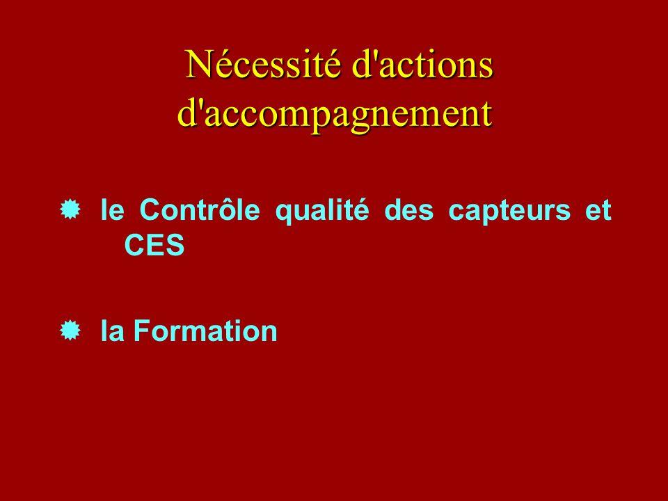 Nécessité d'actions d'accompagnement Nécessité d'actions d'accompagnement le Contrôle qualité des capteurs et CES la Formation