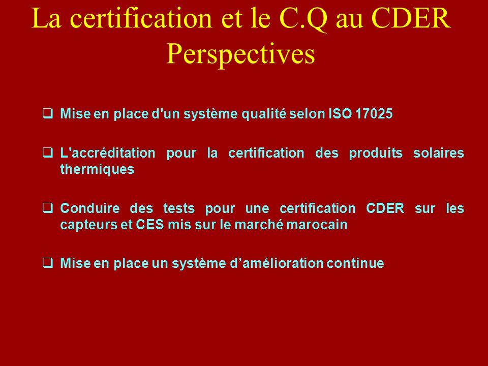 La certification et le C.Q au CDER Perspectives Mise en place d'un système qualité selon ISO 17025 L'accréditation pour la certification des produits