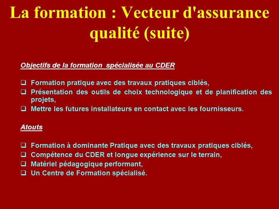 La formation : Vecteur d'assurance qualité (suite) Objectifs de la formation spécialisée au CDER Formation pratique avec des travaux pratiques ciblés,