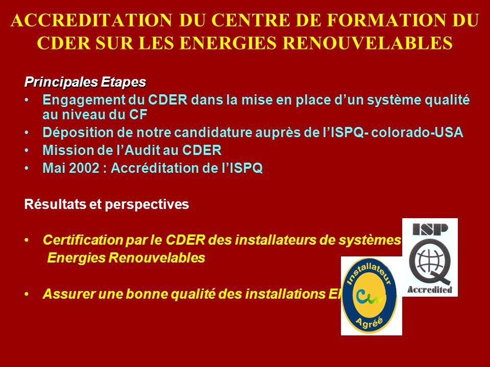 ACCREDITATION DU CENTRE DE FORMATION DU CDER SUR LES ENERGIES RENOUVELABLES Principales Etapes Engagement du CDER dans la mise en place dun système qu
