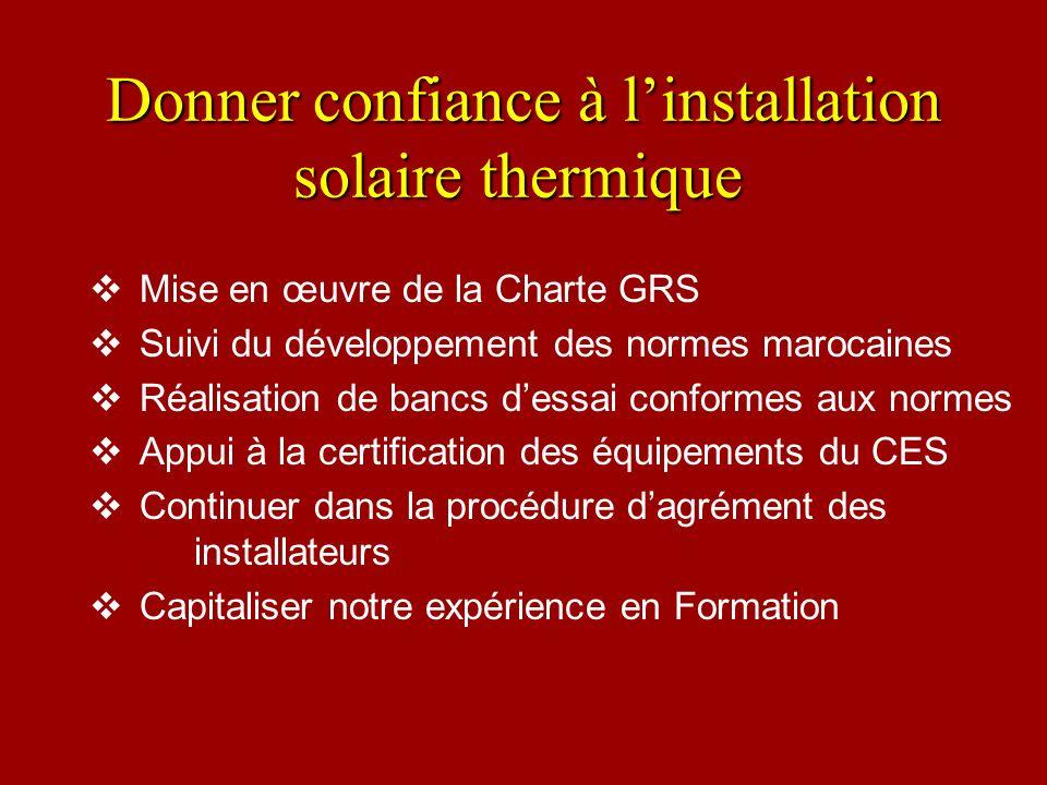 Donner confiance à linstallation solaire thermique Donner confiance à linstallation solaire thermique Mise en œuvre de la Charte GRS Suivi du développ