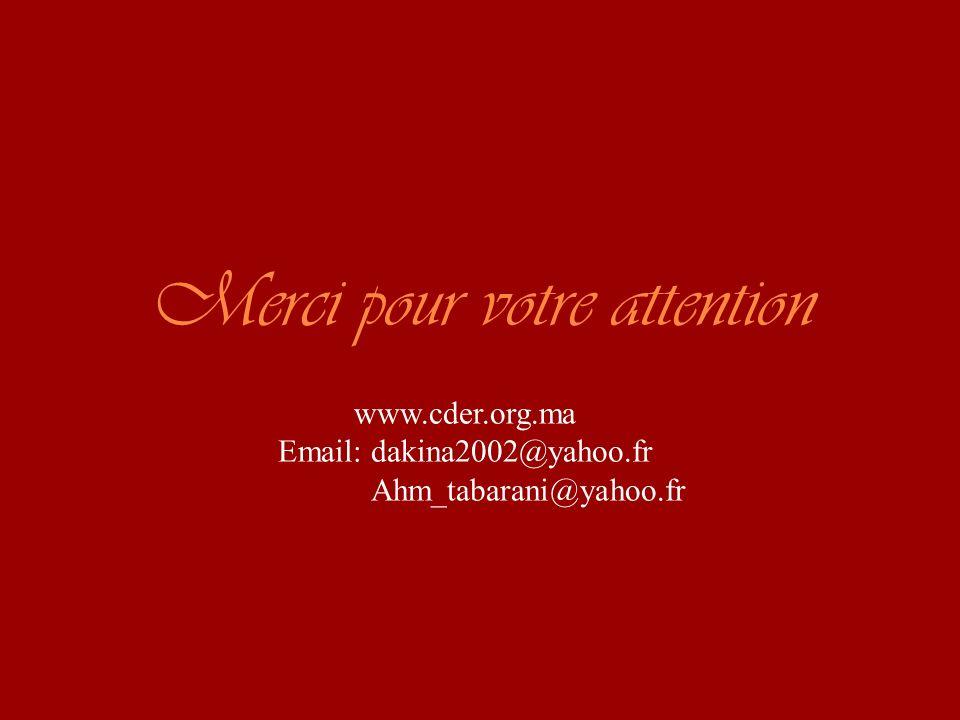 Merci pour votre attention www.cder.org.ma Email: dakina2002@yahoo.fr Ahm_tabarani@yahoo.fr