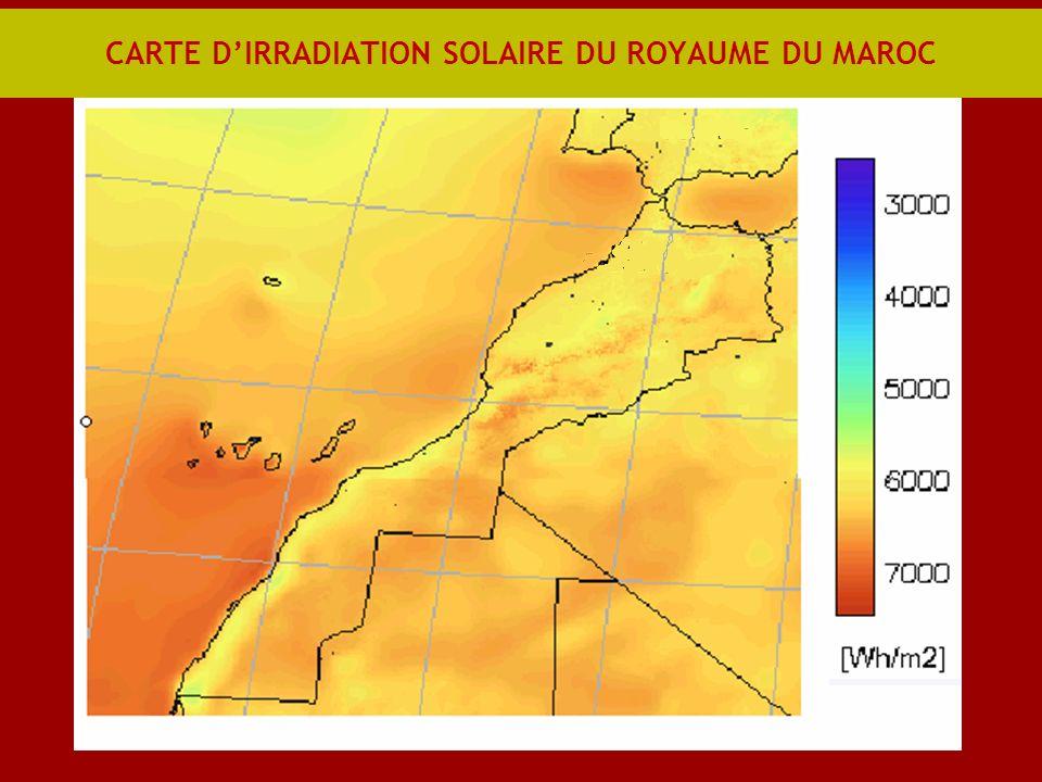 CARTE DIRRADIATION SOLAIRE DU ROYAUME DU MAROC