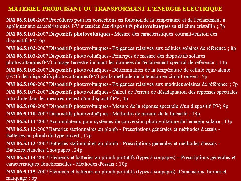 MATERIEL PRODUISANT OU TRANSFORMANT LENERGIE ELECTRIQUE NM 06.5.100-2007 Procédures pour les corrections en fonction de la température et de l'éclaire