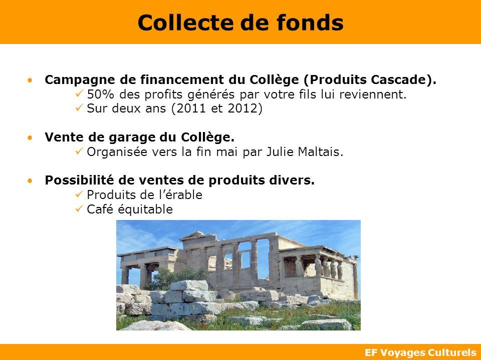 EF Voyages Culturels Collecte de fonds Campagne de financement du Collège (Produits Cascade). 50% des profits générés par votre fils lui reviennent. S