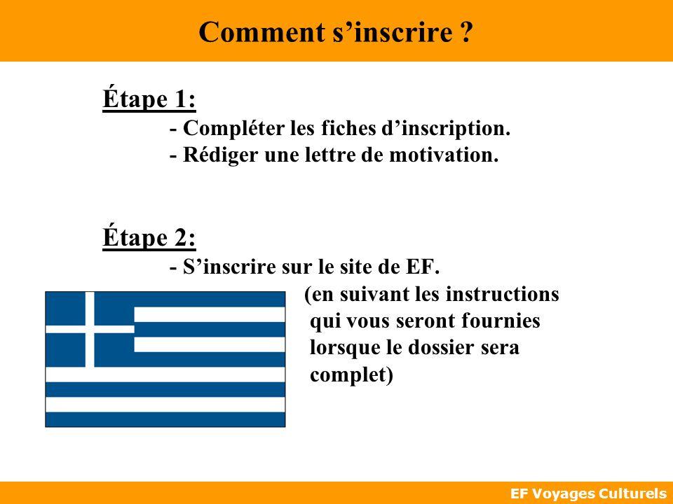 EF Voyages Culturels Comment sinscrire ? Étape 1: - Compléter les fiches dinscription. - Rédiger une lettre de motivation. Étape 2: - Sinscrire sur le