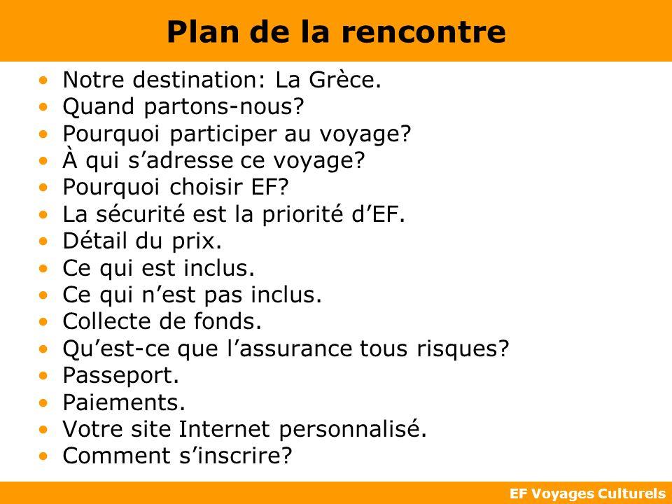 EF Voyages Culturels Plan de la rencontre Notre destination: La Grèce. Quand partons-nous? Pourquoi participer au voyage? À qui sadresse ce voyage? Po