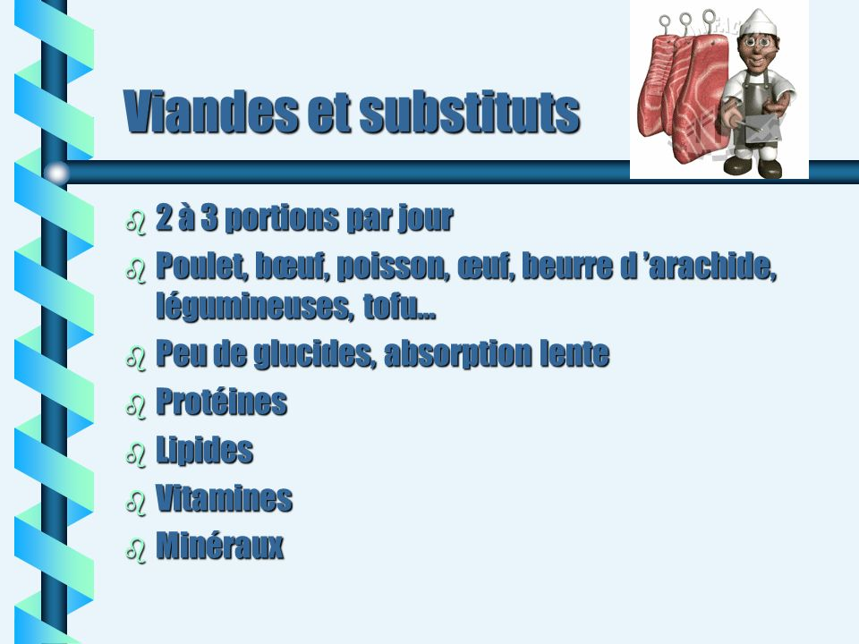 Viandes et substituts b 2 à 3 portions par jour b Poulet, bœuf, poisson, œuf, beurre d arachide, légumineuses, tofu… b Peu de glucides, absorption len