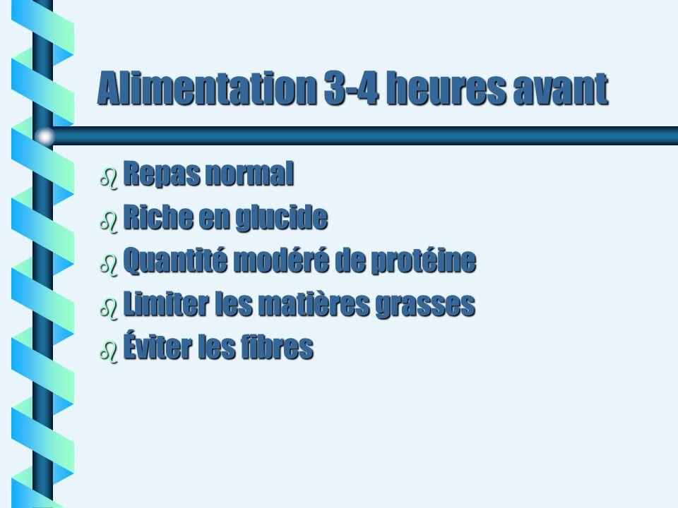 Alimentation 3-4 heures avant b Repas normal b Riche en glucide b Quantité modéré de protéine b Limiter les matières grasses b Éviter les fibres