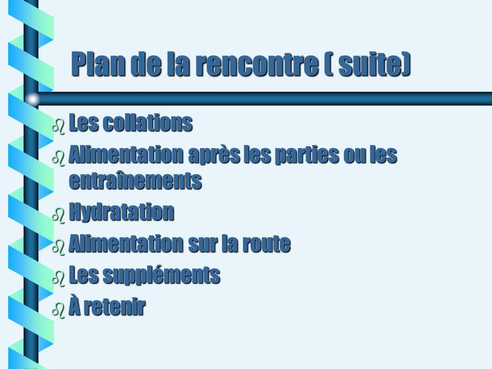 Plan de la rencontre ( suite) b Les collations b Alimentation après les parties ou les entraînements b Hydratation b Alimentation sur la route b Les s